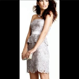 Adrianna Papel SZ 2 Silver Crochet Strapless Dress